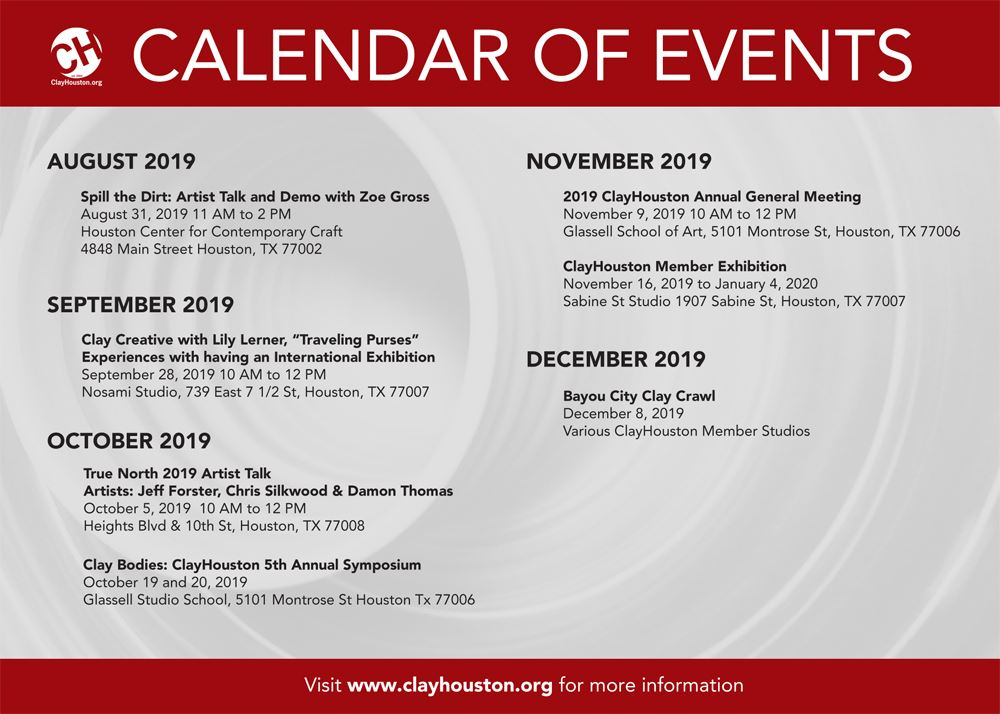 Houston Calendar Of Events August 2020.Clayhouston Clayhouston Calendar Events